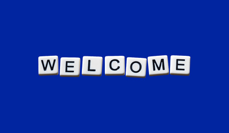 welcome highlighted on white blocks photo