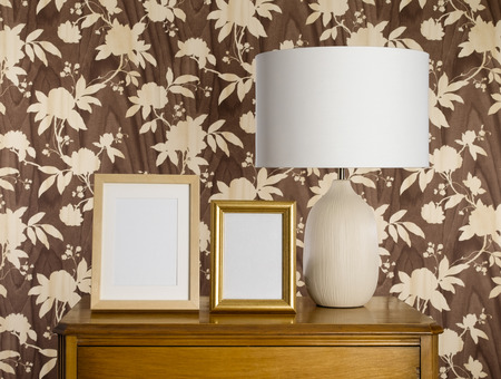 lampshade: Lampshade on sideboard Stock Photo