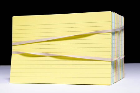 rubber bands: Index Card with rubber bands Stock Photo