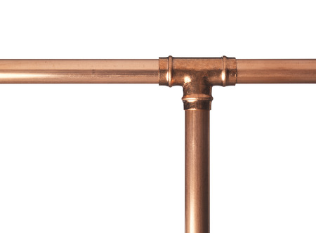 pipe connector: Copper pipe on white with connector