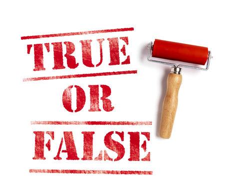 true false: true or false red ink with ink roller Stock Photo