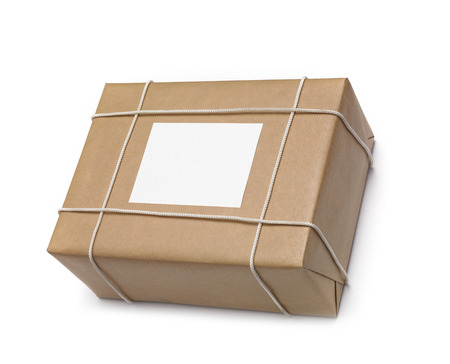 pack string: Shiping box wrapped in string