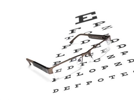 eye chart: Glasses with an eye chart