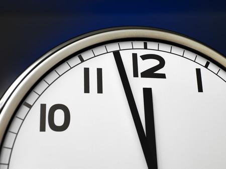 12 oclock: Close up clock face at 12 OClock Stock Photo