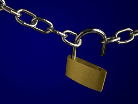 restraining device: Padlock and chain on blue