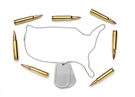 neckwear: Isolated Dog Tag with bullets