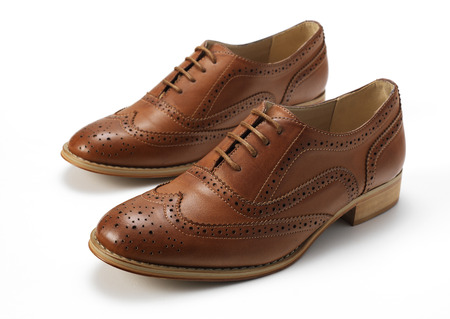 brogues: isolated Tan Brogues Stock Photo