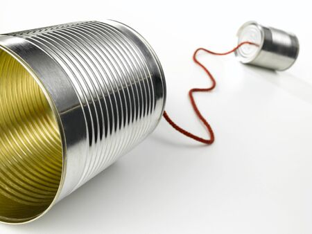 tin can telephone: Tin Can Telephone Stock Photo