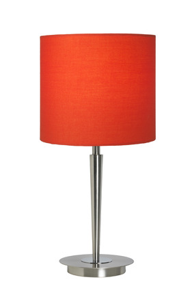 Red lampshade isolated on white photo