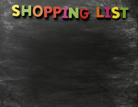 Blackboard with a shopping list title photo