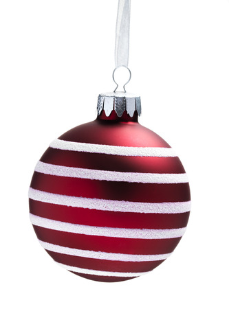Red Hanging Bauble isolated on a white background