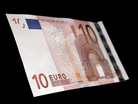 commercial activity: 10 Euro note on black