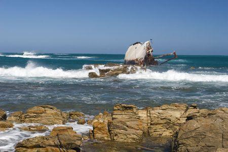 Shipwreck on the coast near Stilbaai, South Africa Stock Photo