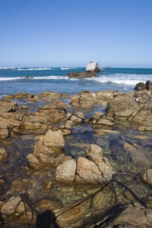 Shipwreck on the coast near Stilbaai, South Africa Stock Photo