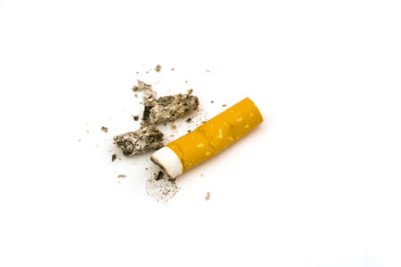 heathcare: Cigarette butt on a white background
