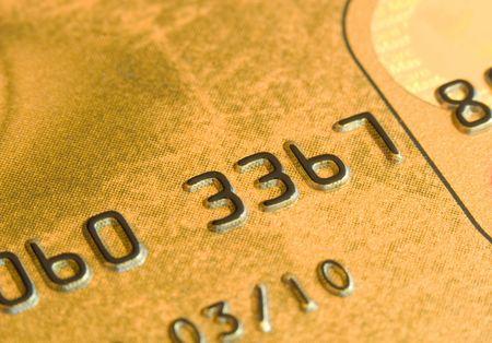 Macro shot of a gold credit card Stock Photo