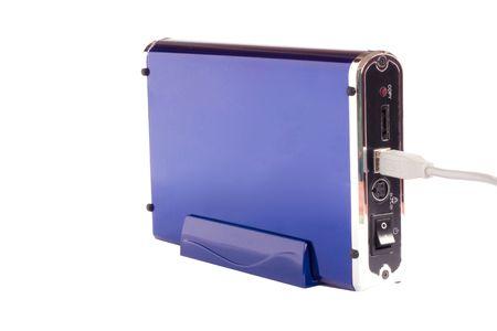 An external hardrive in a blue case