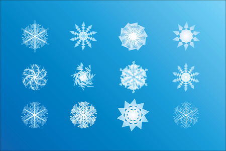Vector image of twelve snowflakes Stock Vector - 3543085