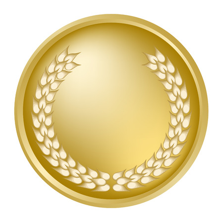 gold seal: Gold medallion and laurel wreath