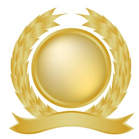 crests: Oro corona di alloro e banner Vettoriali