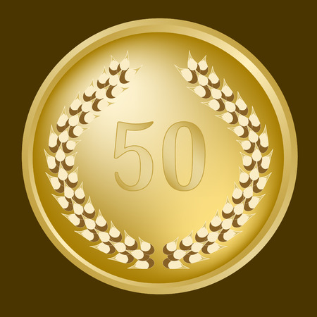 50th annivesary medallion and gold wreath Vector