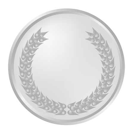 Silver laurel wreath on medallion Illustration