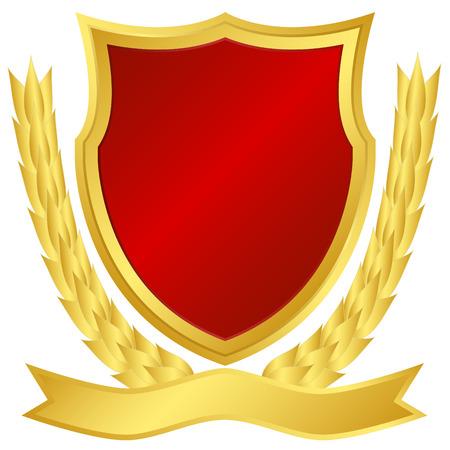 Award shield and laurel wreath