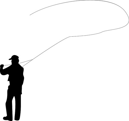 Silhouette of a man fly-fishing Illustration