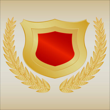Gold shield and wreath with gradient Vector