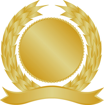 gold seal: Gold medallion with wreath and banner