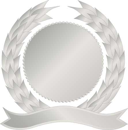 Silver medallion with wreath and banner