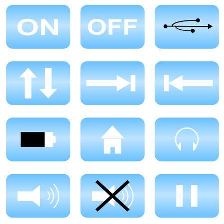 Set of 12 audio icons Vector