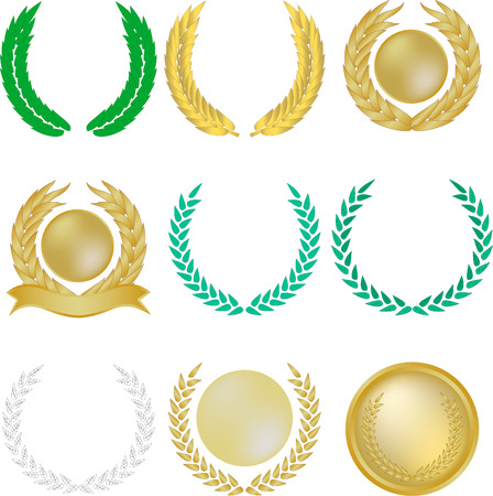 Set of nine laurel wreaths and banners