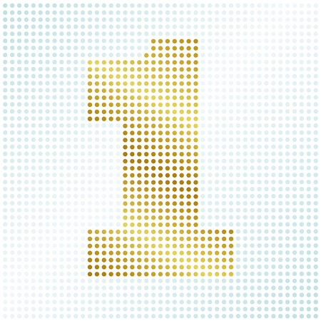 Vector of numeral one made up of dots