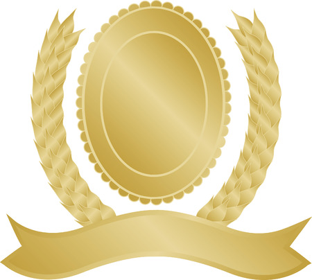 Gold laurel wreath vector with space to insert text and fully editable