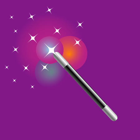 magician: Vector image of a magic wand surrounded by stars