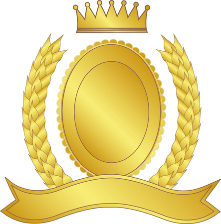 Laurel wreath, medallion and crown in gold - vector