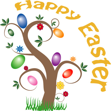 Vector image of a tree with easter eggs hanging from the branches