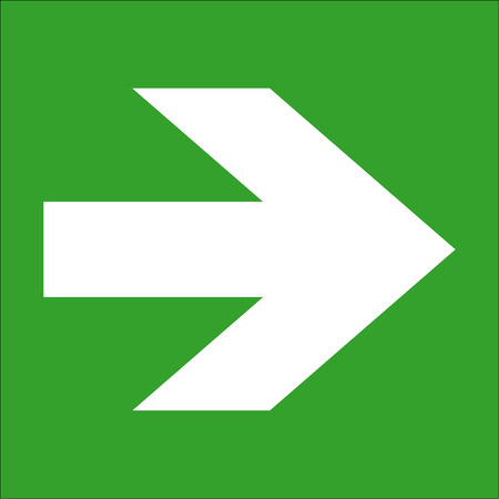 Sign showing a white arrow on a green background Illustration