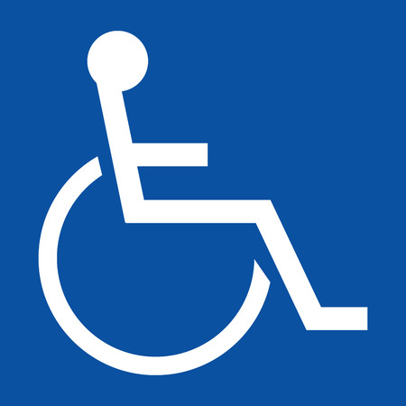 Sign indicating a handicapped person in white on a blue background