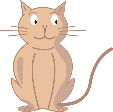Cartoon image of a sitting cat - fully editable