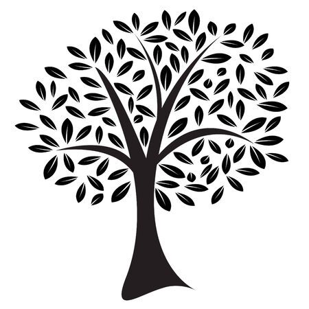 lone tree: Vector image of a lone tree with leaves in a random pattern