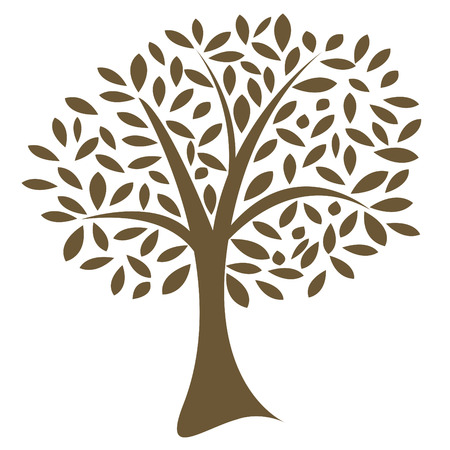 Vector image of a lone tree with leaves in a random pattern