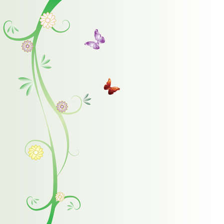 A floral vector background with butterflies and space to include text