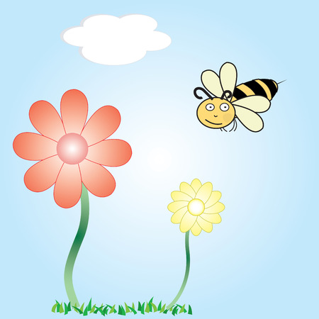 A vector cartoon of a bee flying around flowers Illustration