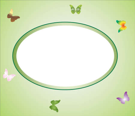 Oval text space on a gradient background with butterflies