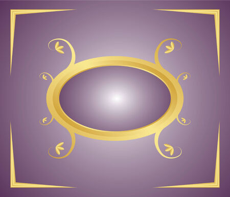 Decorative floral gold frame on a gradient background