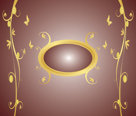 Decorative floral gold frame on a gradient background Vector