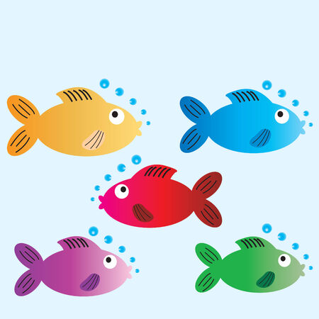 Five cartoon fish with space to include text for a card Illustration