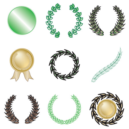 Set of nine wreaths and medallions Stock Vector - 4829163